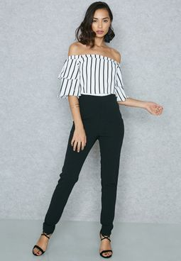 Striped Detail Bardot Jumpsuit