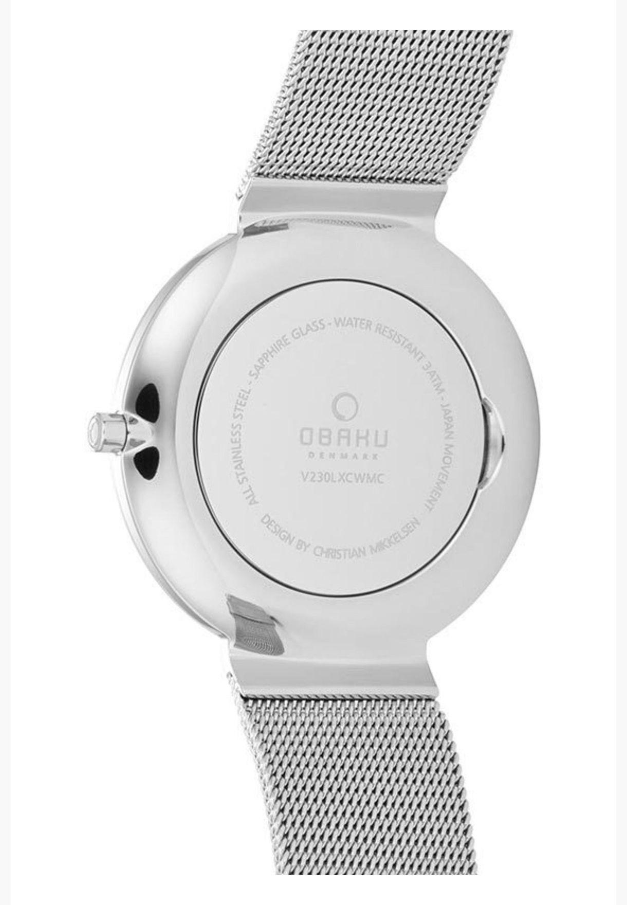 ساعة اوباكو بابير ليل للنساء بسوار شبكي - V230LXCWMC
