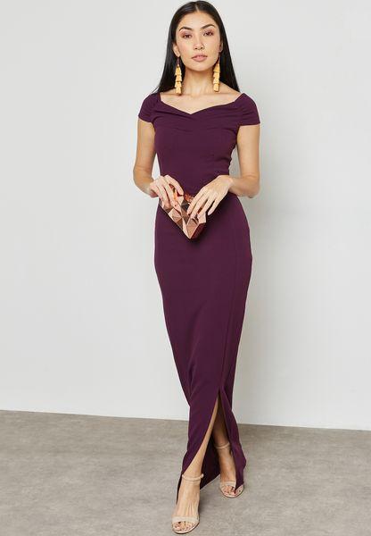 Off Shoulder Detail Slit Maxi Dress
