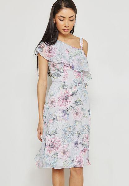 Asymmetric Shoulder Dress