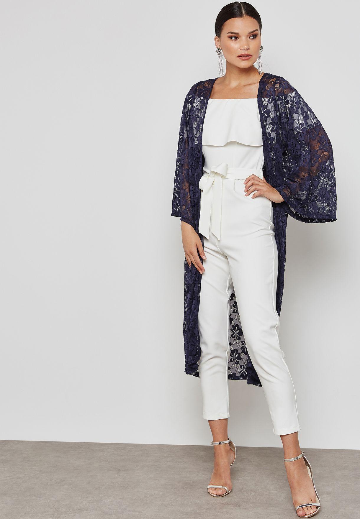 Longline Floral Lace Kimono