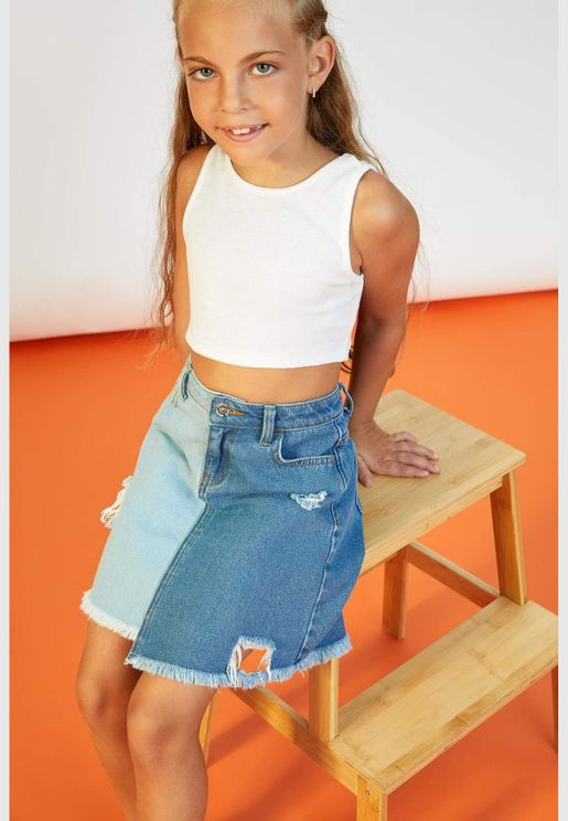 Girl Cropped Fit Sleeveless Top