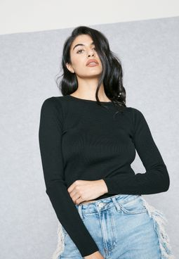 Open Back D-Ring Detail Sweatshirt