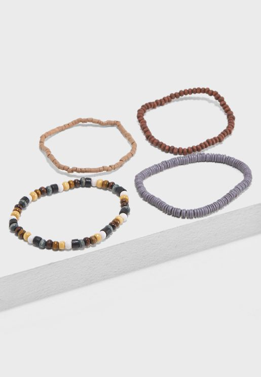 4 Pack Wooden and Beaded Bracelets