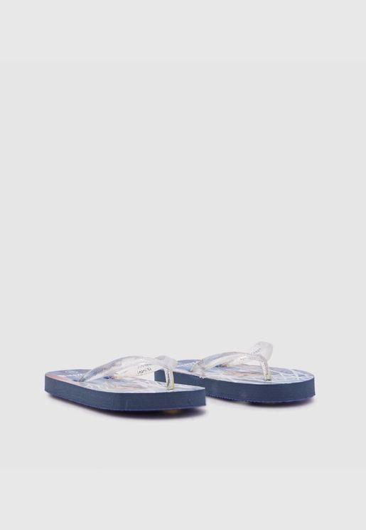 Flip Flop & Slides-Silver