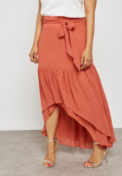 Asymmetric Frilled Maxi Dress