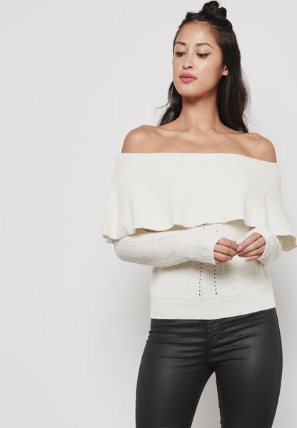 Ribbed Bardot Sweater
