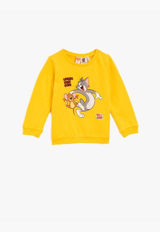 Cotton Tom&Jerry Licensed Printed Crew Neck Sweatshirt