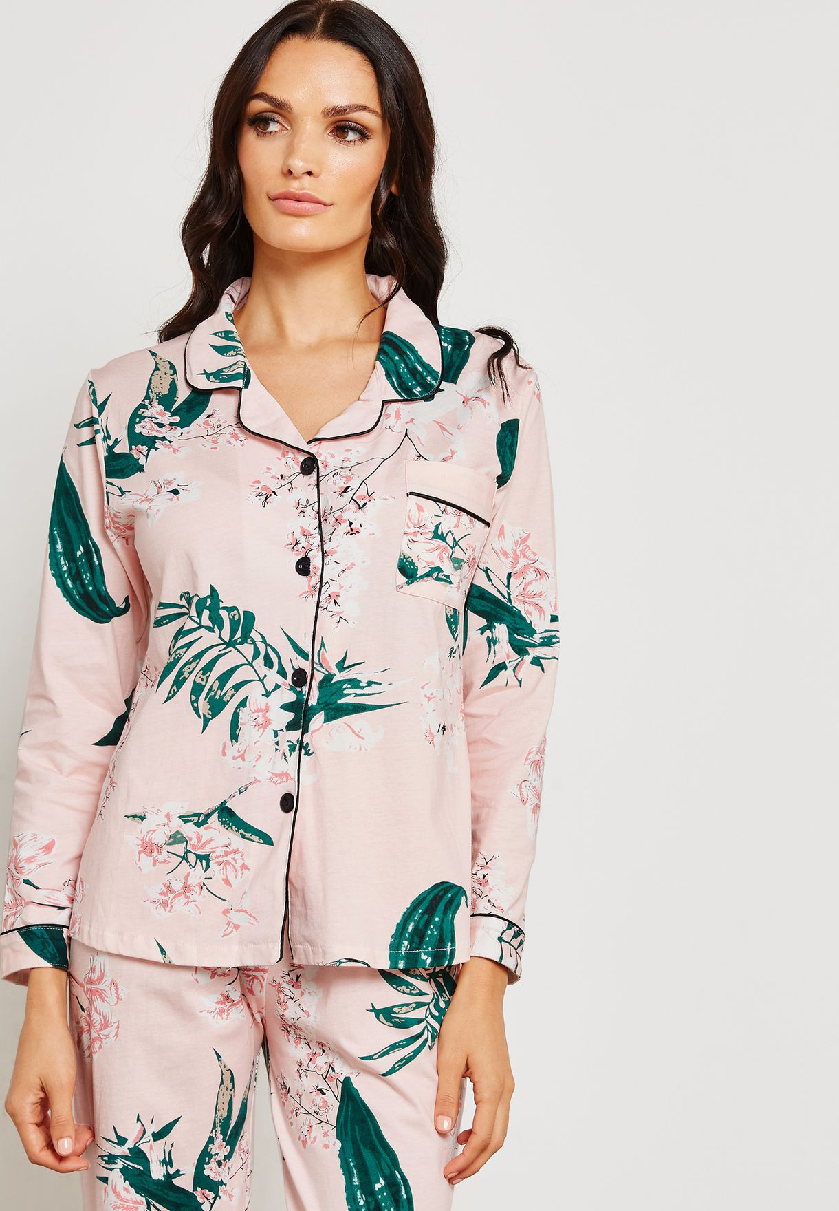 Leaf Print Shirt Pyjama Set