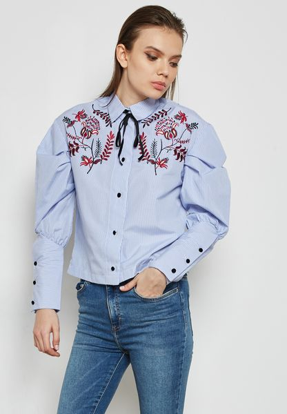 Embroidered Cuffed Sleeve Shirt