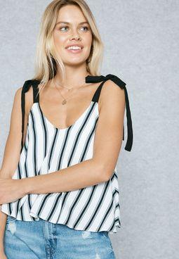 Striped Sleeve Tie Cami Top