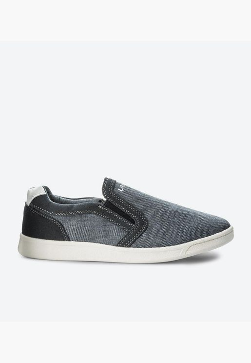 Round Toe Flat Rubber Sole Slip-Ons - Grey