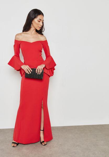 Ruffled Bardot Split Dress