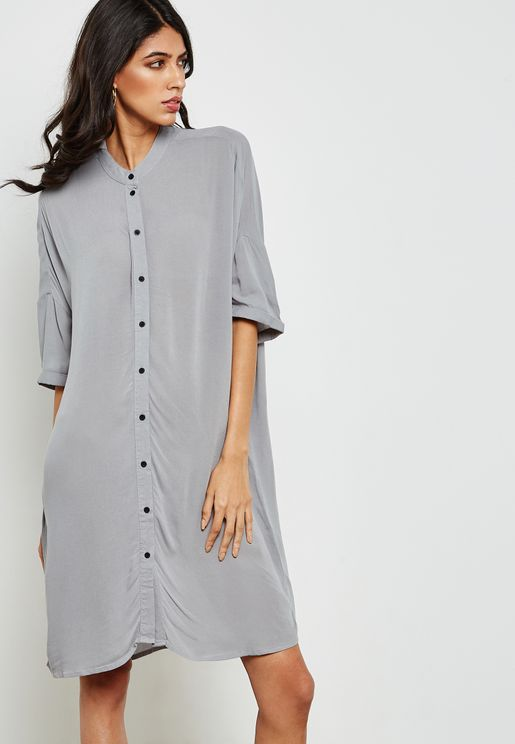 Ruched Sleeve Shirt Dress