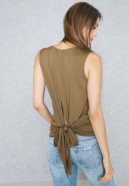 Front Zip Tie Back Top