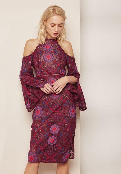 Printed Cold Shoulder Flared Sleeve Dress