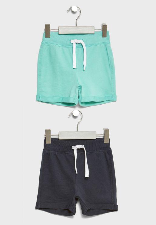 Infant 2 Pack Tie Waist Shorts