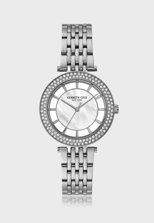 كينيث كول ساعة يد بسوار ستانلس ستيل شفافة للنساء - KC51130001