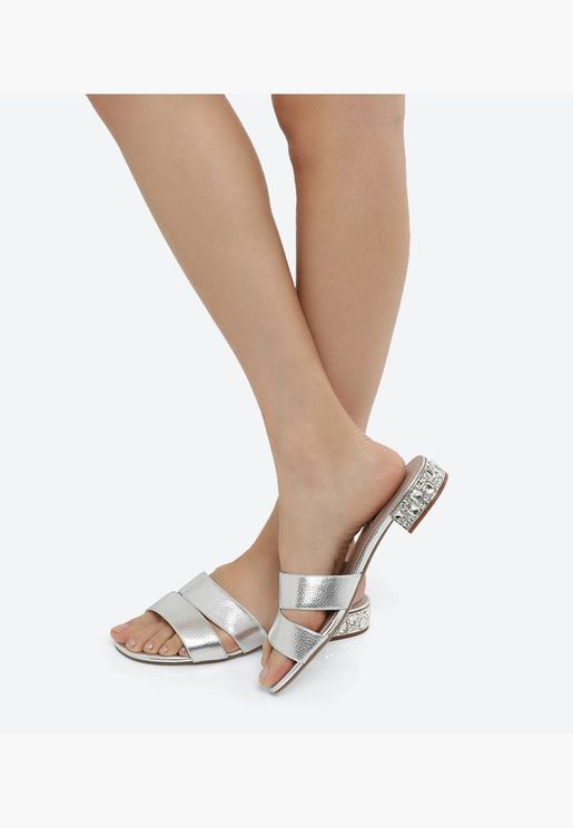 NETTIE DI Embellished Slip-ons - Silver