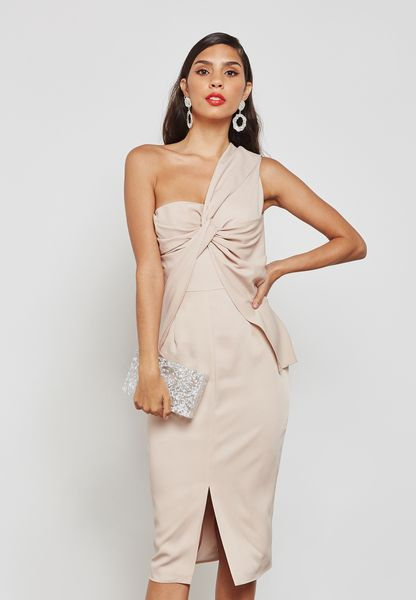 One Shoulder Front Twist Dress
