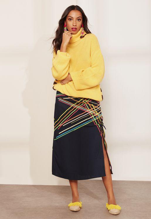 Lilah Ruched Midi Skirt