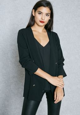 Button Detail Sleeve Blazer