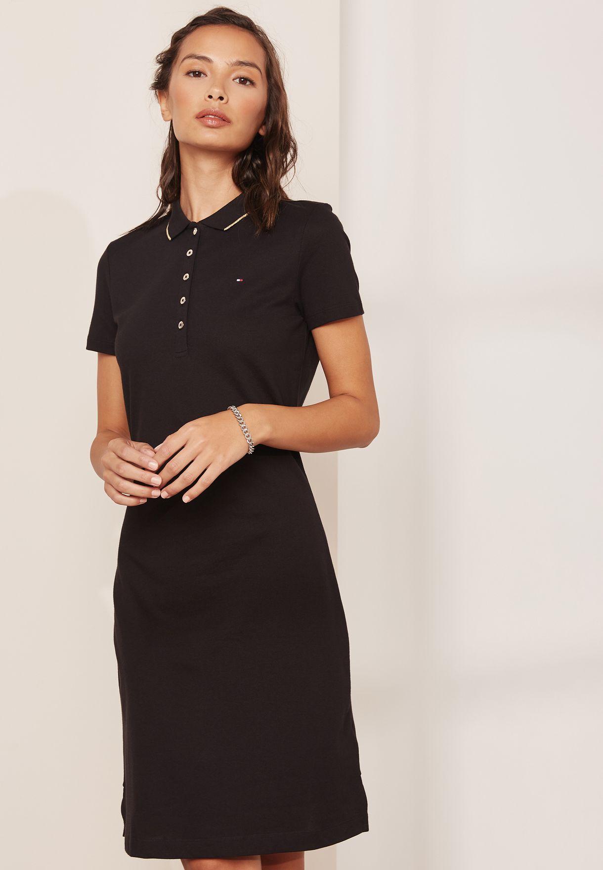 04574a817499 Shop Tommy Hilfiger black Chiara Polo Dress 1M87640146 for Women in ...