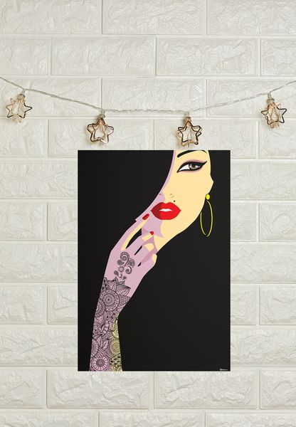 A3 Henna Lady Poster