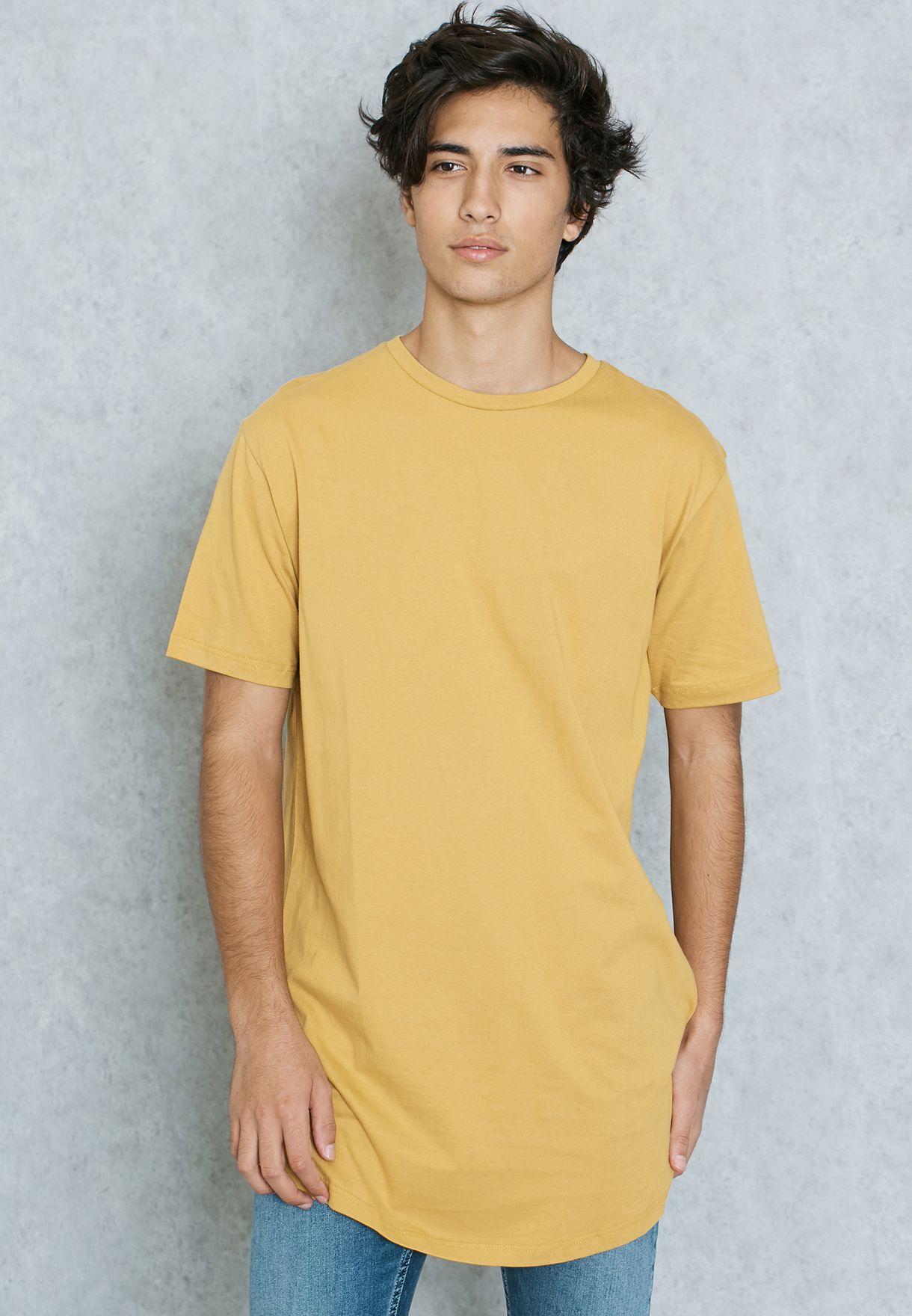 1d59ed58 Shop Topman yellow Yellow Longline T-Shirt 71Q21NYLW for Men in UAE ...