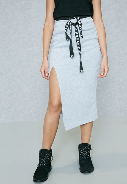 Tie Waist Side Split Skirt