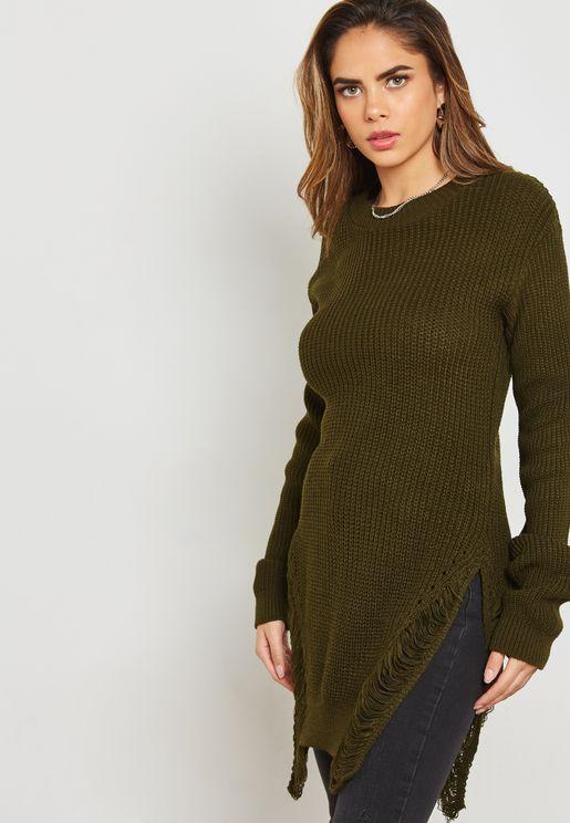 Asymmetrical Ripped Longline Sweater