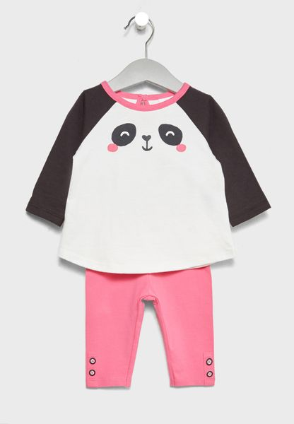 Infant Panda T-Shirt + Leggings Set