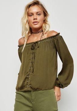 Lace up Bardot Top