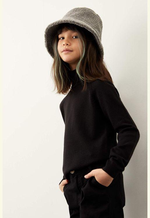 Girl Regular Fit Turtle Neck Pullover