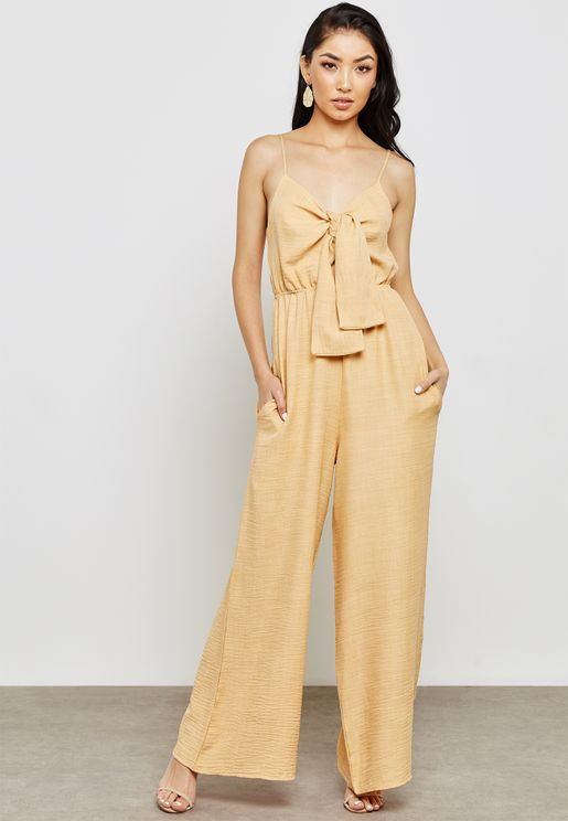 Strappy Bow Front Wide Leg Jumpsuit