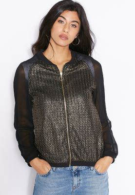 MANGO Full Zip Shimmer Jacket