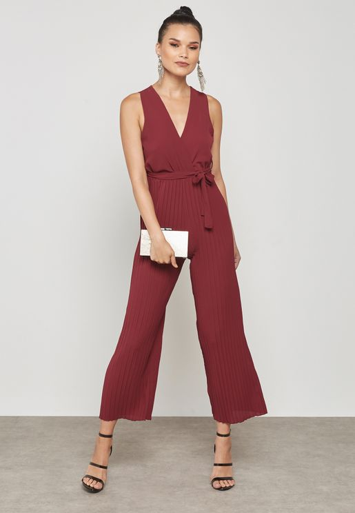 Belted Pleated Jumpsuit