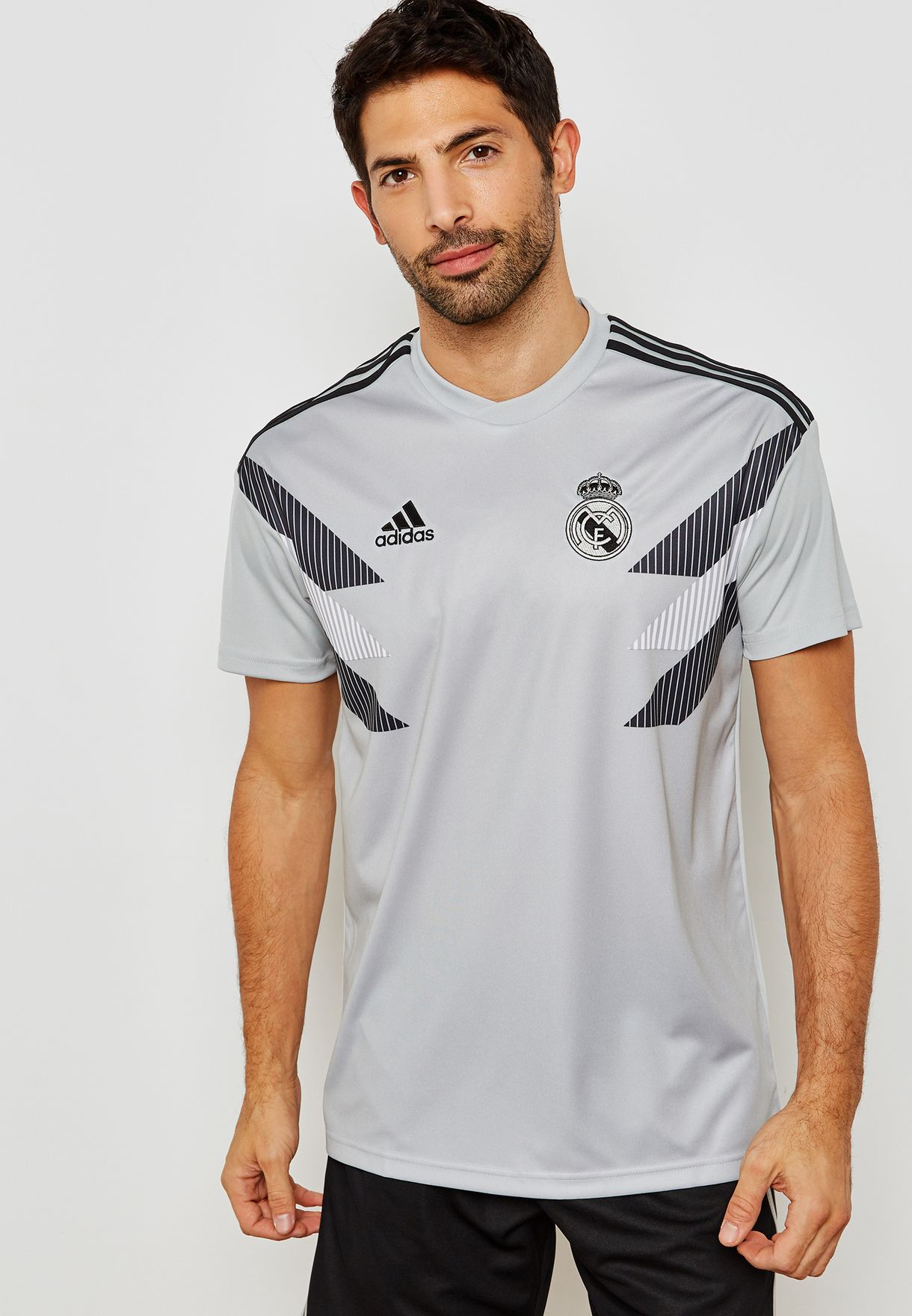 f59ba1a65f1 Shop adidas grey Real Madrid Home Pre-match Jersey CW5826 for Men in ...