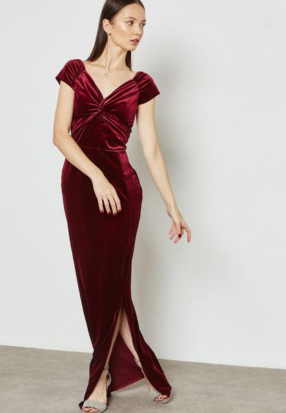 Wrap Front Velvet Maxi Dress