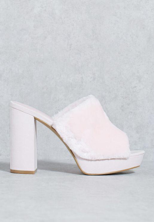 Fur High Heel Sandal