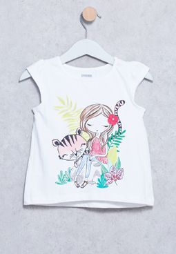 Infant Girl With Tiger T-Shirt