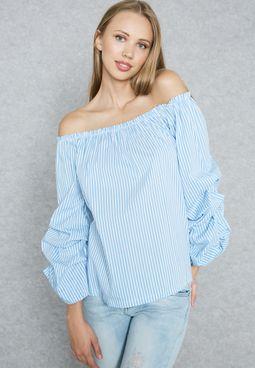 Striped Puffed Sleeve Bardot Top