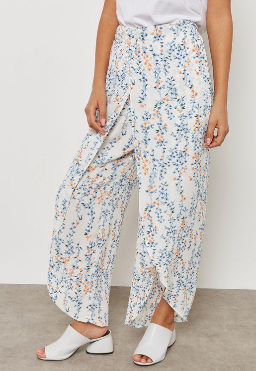 Printed Wrap Front Pants