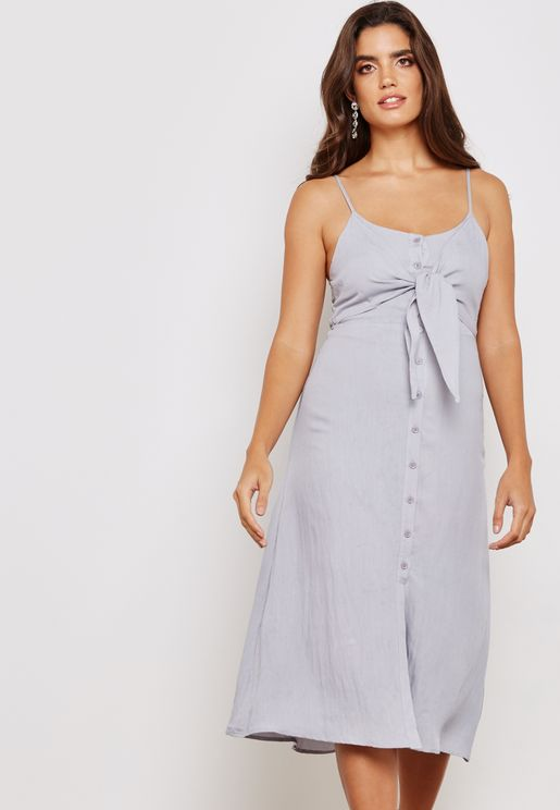 Front Twisted Cami Midi Dress