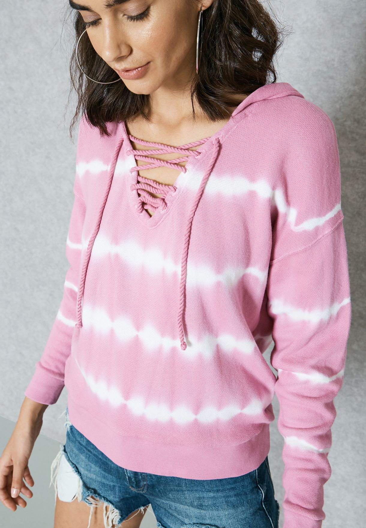 cb7265850c Shop Forever 21 pink Tie Dye Lace Up Hoodie 00226036 for Women ...