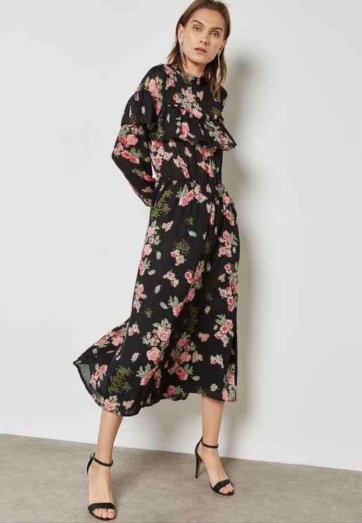 Floral Print Ruffle Paneled Dress