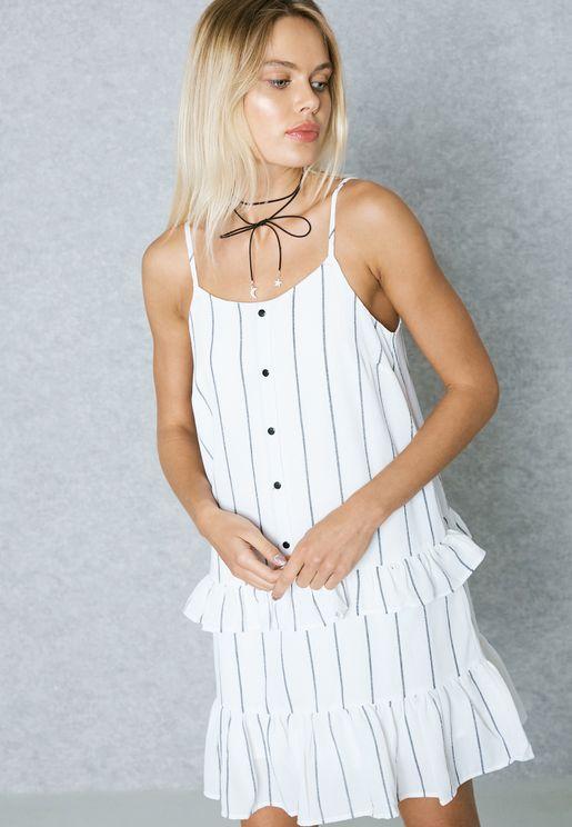 Ruffled Detail Striped Dress