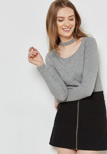 Cut Out Neck Long Sleeve T-Shirt