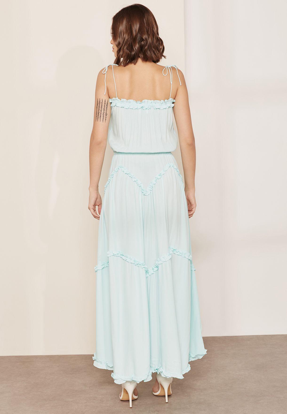 Fare Ruffle Detail Tie Neck Maxi Dress