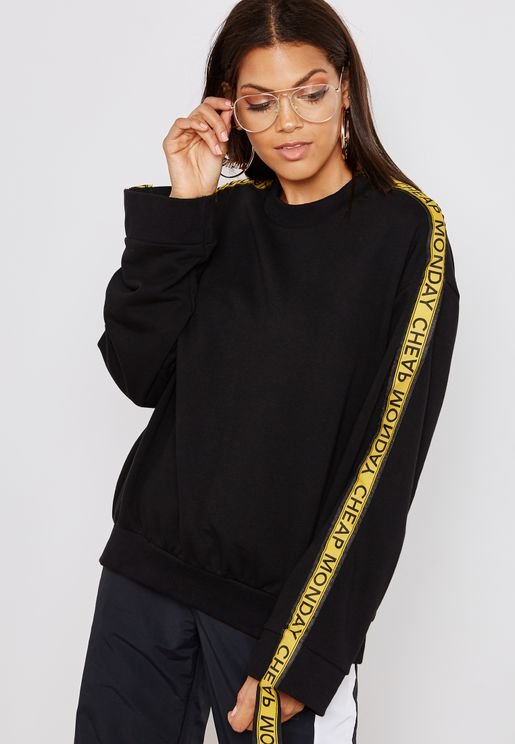 Logo Tape Gathered Sleeve Sweatshirt